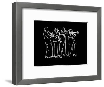Neon Horn Band New Orleans Style-Rich LaPenna-Framed Giclee Print