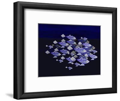 Blue School of Fish-Rich LaPenna-Framed Giclee Print