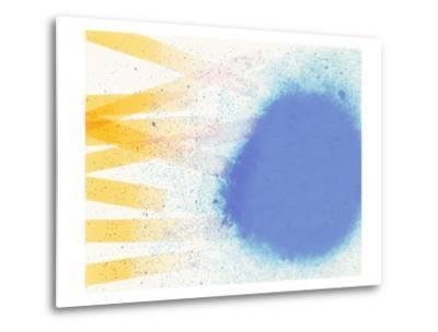 Abstract Image in Blue, White, and Yellow-Daniel Root-Metal Print