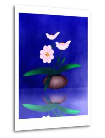 Floral Arrangement of Orchid in Vase Partly Reflected-Rich LaPenna-Metal Print
