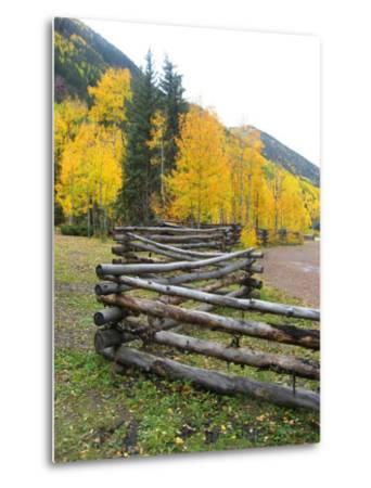 Wooden Fence in the Mountains of Colorado-David Edwards-Metal Print