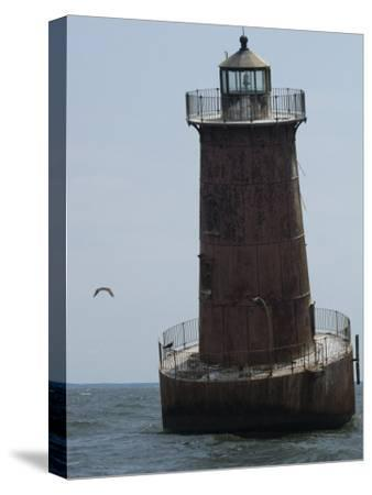 Weathered Sharps Island Light, in the Chesapeake Bay-Paul Sutherland-Stretched Canvas Print