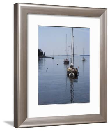 Moored Sailboat Near New Harbor, Maine-Scott Warren-Framed Photographic Print