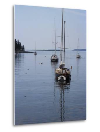 Moored Sailboat Near New Harbor, Maine-Scott Warren-Metal Print