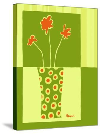Minimalist Flowers in Green I- Goldberger & Archie-Stretched Canvas Print