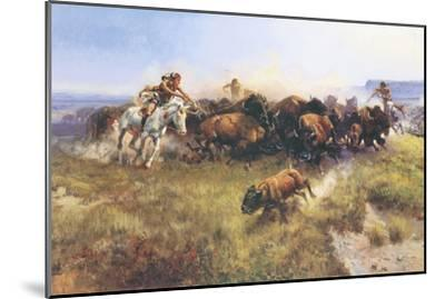 The Buffalo Hunt No. 39-Charles Marion Russell-Mounted Premium Giclee Print