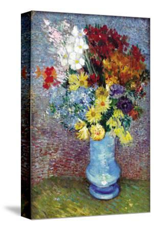 Flowers In a Blue Vase-Vincent van Gogh-Stretched Canvas Print