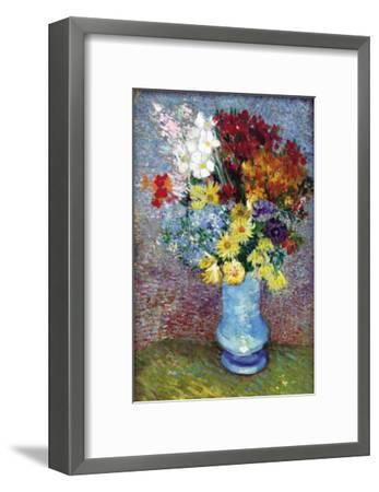 Flowers In a Blue Vase-Vincent van Gogh-Framed Art Print
