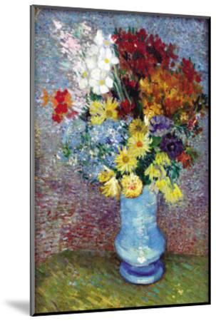 Flowers In a Blue Vase-Vincent van Gogh-Mounted Art Print