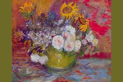 Still-Life with Roses and Sunflowers-Vincent van Gogh-Stretched Canvas Print