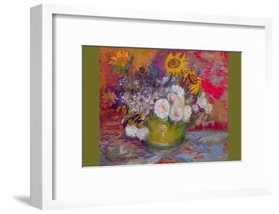 Still-Life with Roses and Sunflowers-Vincent van Gogh-Framed Art Print