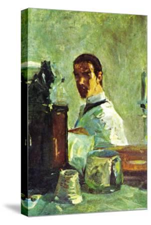 Self Portrai Looking In a Mirror-Henri de Toulouse-Lautrec-Stretched Canvas Print