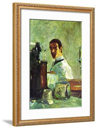 Self Portrai Looking In a Mirror-Henri de Toulouse-Lautrec-Framed Art Print