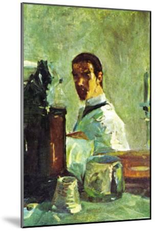 Self Portrai Looking In a Mirror-Henri de Toulouse-Lautrec-Mounted Art Print