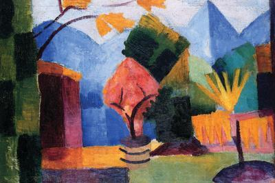 Garden On The Lake of Thun-Auguste Macke-Stretched Canvas Print