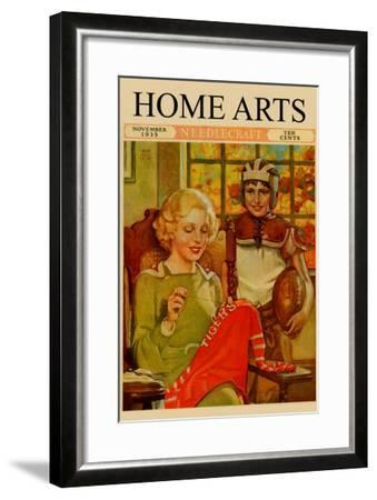 Mother Sews Her Son's Football Jersey As He Looks On--Framed Art Print