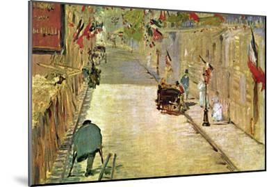 Rue Mosnier with Flags-Edouard Manet-Mounted Art Print