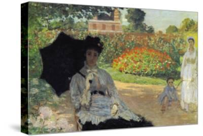 Camille In The Garden with Jean and His Nanny-Claude Monet-Stretched Canvas Print