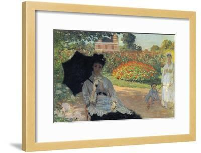 Camille In The Garden with Jean and His Nanny-Claude Monet-Framed Art Print