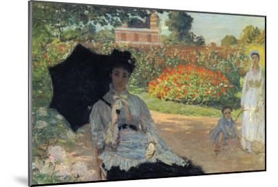 Camille In The Garden with Jean and His Nanny-Claude Monet-Mounted Art Print