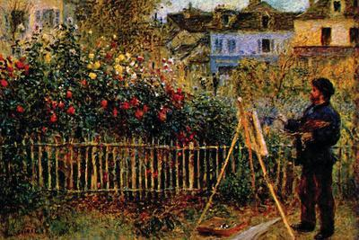 Monet Painting In His Garden In Argenteuil-Claude Monet-Stretched Canvas Print