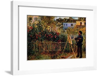 Monet Painting In His Garden In Argenteuil-Claude Monet-Framed Premium Giclee Print
