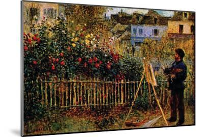 Monet Painting In His Garden In Argenteuil-Claude Monet-Mounted Premium Giclee Print