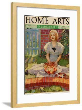 Woman Embroiders By The Side of a Home Pond--Framed Art Print