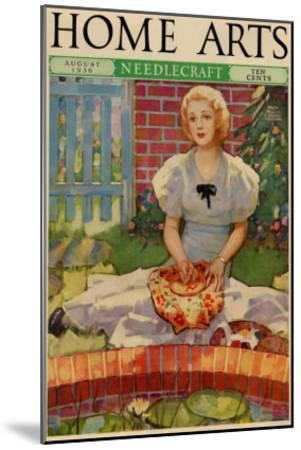 Woman Embroiders By The Side of a Home Pond--Mounted Art Print