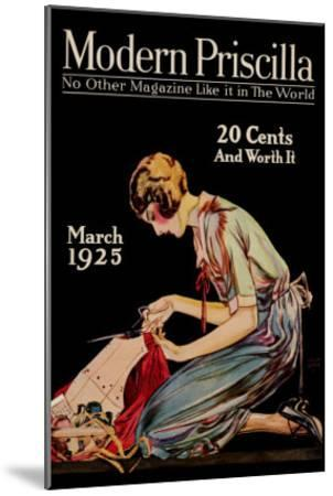 Woman Cuts a Dress Patter with Her Scissors--Mounted Art Print