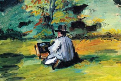 Painter At Work-Paul C?zanne-Stretched Canvas Print