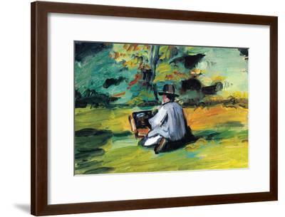 Painter At Work-Paul C?zanne-Framed Premium Giclee Print