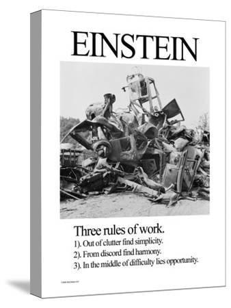 Einstein; Three Rules of Work-Wilbur Pierce-Stretched Canvas Print