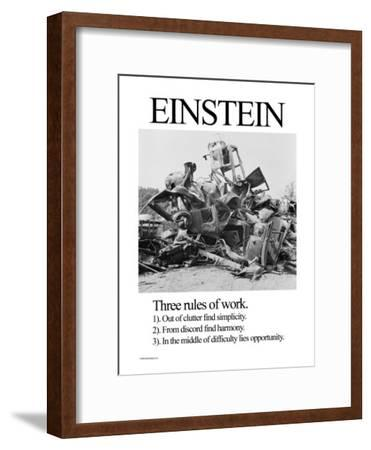 Einstein; Three Rules of Work-Wilbur Pierce-Framed Art Print