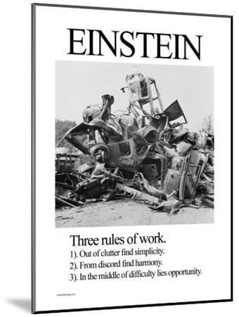 Einstein; Three Rules of Work-Wilbur Pierce-Mounted Art Print