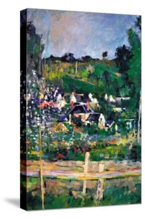 Village Behind The Fence-Paul C?zanne-Stretched Canvas Print