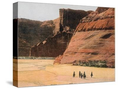 Navajo Horsemen in Canyon De Chelly Arizona--Stretched Canvas Print
