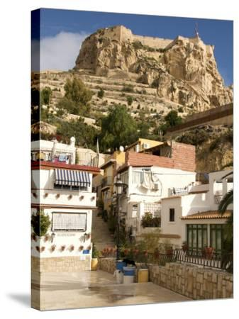 Santa Cruz Quarter and Santa Barbara Castle in Background, Alicante, Valencia Province, Spain-Guy Thouvenin-Stretched Canvas Print