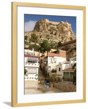 Santa Cruz Quarter and Santa Barbara Castle in Background, Alicante, Valencia Province, Spain-Guy Thouvenin-Framed Photographic Print
