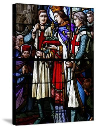 Stained Glass Window of St. Louis Holding the Crown of Thorns, St. Louis Church, Vosges, France-Godong-Stretched Canvas Print