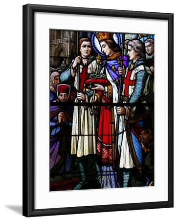 Stained Glass Window of St. Louis Holding the Crown of Thorns, St. Louis Church, Vosges, France-Godong-Framed Photographic Print