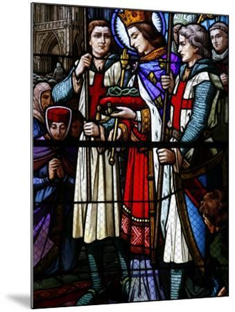 Stained Glass Window of St. Louis Holding the Crown of Thorns, St. Louis Church, Vosges, France-Godong-Mounted Photographic Print