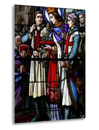 Stained Glass Window of St. Louis Holding the Crown of Thorns, St. Louis Church, Vosges, France-Godong-Metal Print