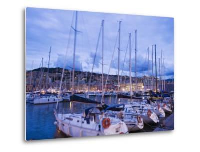 Boats in Porto Vecchio Marina, Genoa (Genova), Liguria, Italy, Europe-Christian Kober-Metal Print