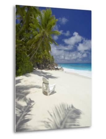 Adirondack Chair and Tropical Beach, Seychelles, Indian Ocean, Africa-Sakis Papadopoulos-Metal Print