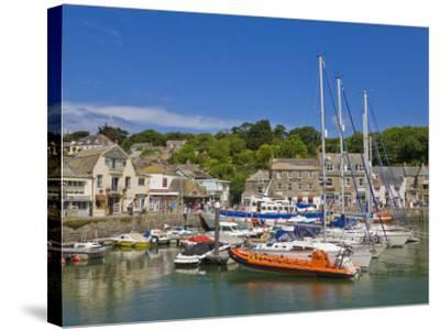Busy Tourist Shops, Small Boats and Yachts at High Tide in Padstow Harbour, North Cornwall, England-Neale Clark-Stretched Canvas Print