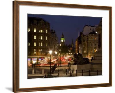 Big Ben and Whitehall from Trafalgar Square, London, England, United Kingdom, Europe-Charles Bowman-Framed Photographic Print