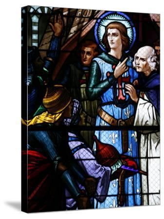 Stained Glass Window of Crusading St. Louis Meeting the Emir, St. Louis Church, Vittel, France-Godong-Stretched Canvas Print