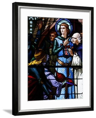 Stained Glass Window of Crusading St. Louis Meeting the Emir, St. Louis Church, Vittel, France-Godong-Framed Photographic Print