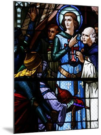 Stained Glass Window of Crusading St. Louis Meeting the Emir, St. Louis Church, Vittel, France-Godong-Mounted Photographic Print